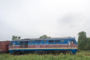 Freight train nearing Quang  Tri